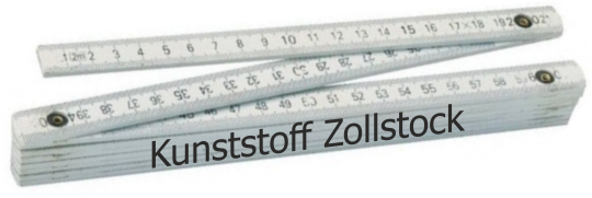Zollstock Kunststoff  2m, 2-seitig bedruckt weiß