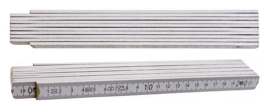 Qualitäts-Zollstock 2m, 2-seitig bedruckt Weiß